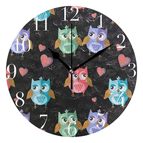 FunnyCustom Round Wall Clock Owls in Love for Valentine's Day Acrylic Creative Decorative for Living Room/Kitchen/Bedroom/Family