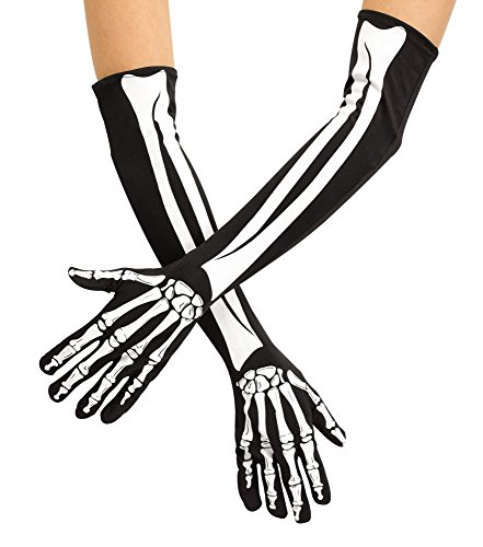 Fun World Unisex Adult Skeleton Opera Gloves, Multi, Standard -