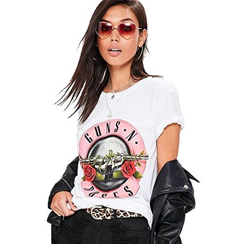 - fancy-mano Women's Guns N Roses Print Short Sleeve Casual Loose White T-Shirt Blouse Tops (XL, White)