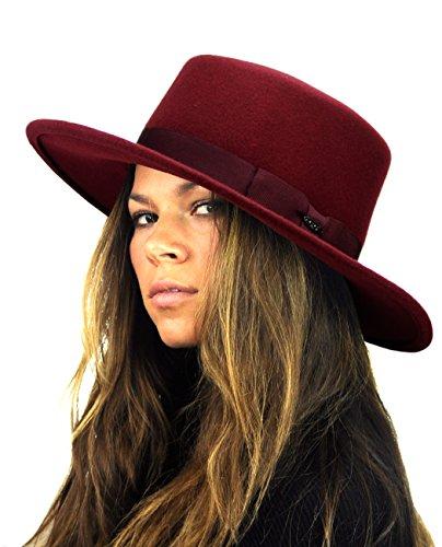 Brim Red Wool Hat Large (NYFASHION101 Wool Wide Brim Porkpie Fedora Hat w/Simple Band Accent - Burgundy)