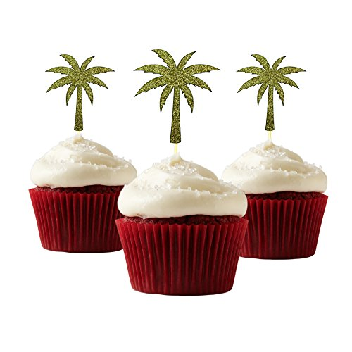 - Palm Tree Cupcake Topper 12 pieces per Pack Cupcake Topper Decoration Card Stock Gold
