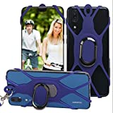 3-in-1 Cell Phone Lanyard with Hand Grip Detachable Neck Strap Protector for Smartphones 5 Inches Above (Blue)