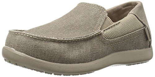 Crocs Boys' Santa Cruz II Grade School Loafer, Khaki/Cobblestone, 3 M US Little Kid