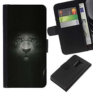 """Be-Star la tarjeta de Cr¨¦dito Slots PU Funda de cuero Monedero caso cubierta de piel Para LG G2 D800 ( Gran Retrato del gato Retrato Pintura Dibujo Leopard"""" )"""