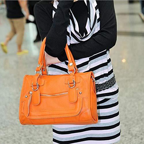 Commute Main Fourre Les Sac à Pour En Grand Cuir tout Femmes à Souple Orange Bandoulière Sac z5qgx1w