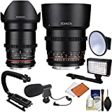 Rokinon 35mm & 85mm T/1.5 DS Cine Lens Set Olympus/Panasonic Micro 4/3 Cameras LED Video Light + Microphone + Stabilizer Kit