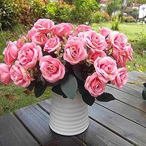 hwangli 1 Bouquet/12 Heads Artificial Roses Silk Flower Home Party Bridal Bouquet Decor Rose Pink 21