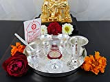 GoldGiftIdeas 7PS Plus (7 Inch) Silver Plated Pooja Thali Set, Pooja Thali Decorative Plate, Perfect Return Gift for Wedding
