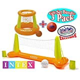"""Intex Floating Pool Volleyball Game & Floating Hoops Basketball Game with Exclusive Matty's Toy Stop 4.25"""" Vinyl Basketball Gift Set Bundle - 3 Pack"""