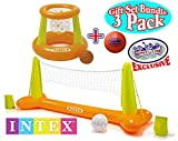 Intex Floating Pool Volleyball Game & Floating Hoops Basketball Game with Exclusive Matty's Toy Stop 4.25'' Vinyl Basketball Gift Set Bundle - 3 Pack