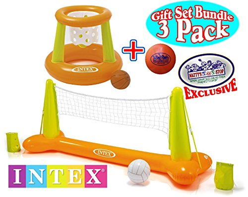 Intex Floating Pool Volleyball Game & Floating Hoops Basketball Game with Exclusive Matty's Toy Stop 4.25' Vinyl Basketball Gift Set Bundle - 3 Pack