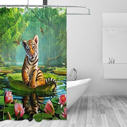 72x72 Inch Elegant Bathroom Window CurtainsHotel Decor, Waterproof Durable No Odor Bath Shower Curtains - 3D Tiger Lotus Flowers and Leaves in Water Wall Hanging Forest