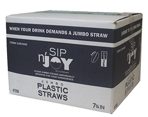 Straws Case (Crystalware Plastic Straws Individually Wrapped 2000/Case, Clear, 4 Boxes of 500 Each)