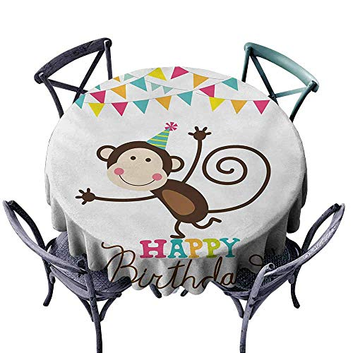 - Zllickd Antifouling Tablecloth Kids Birthday Celebration Brown Monkey Posing at a Party with Two Line Flags Cone Image Multicolor Party D47