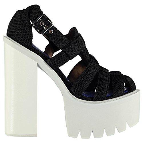 Jeffrey Campbell Mujer F1554 Gladiator Tacon Sandalias Verano Plataforma Zapatos Black Mesh