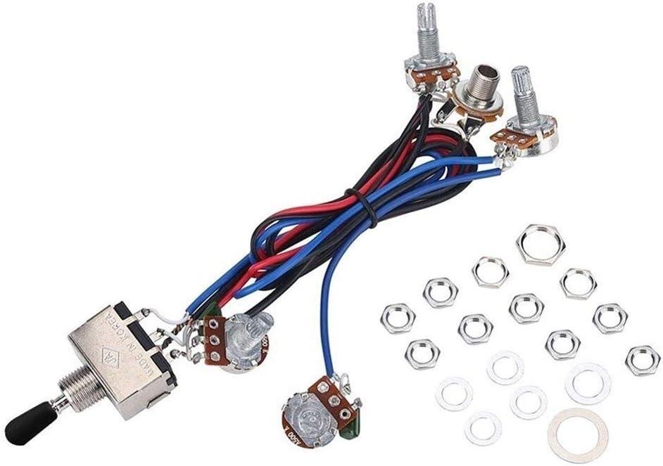 Sbeautli Guitarra Kit precableado Mazo de Cables for LP eléctrico 2T2V 500K Ollas de 3 vías Interruptor eléctrico arnés de cableado Instrumento Partes Adecuado Accesorios