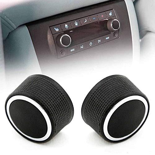 (Jahyshow 2pc for 07-13 Chevrolet GMC Tahoe Silverado Sierra Yukon Cadillac Escalade Buick Rear Audio Radio Control Knob Volume Control Button 2291-2547 22912547 For AC Del co Entertainment Ring)