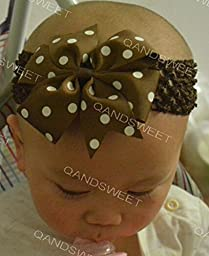 Qandsweet Baby Girl\'s Elastic Headbands with Hair Bows Flower