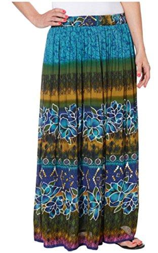 Chaudry Women's Long Length Pull-On Skirt-Boho, Peasant,Gypsy (Small, Blue Multi) (Skirt Multi Broomstick)