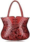 PIJUSHI Designer Floral Handbag for Women Top Handle Satcehl Bags Cheongsam Shoulder Bag (22331 Red)