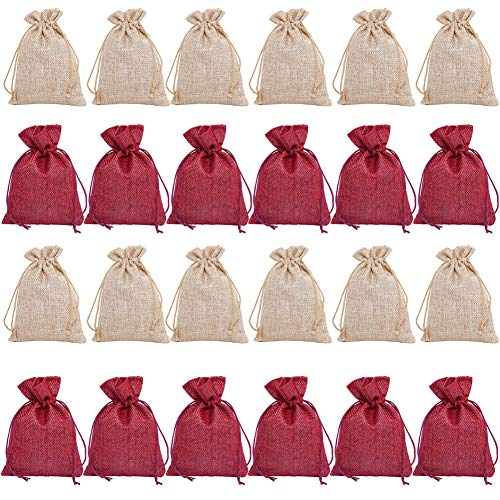 QILICHZ 24 Pieces Small Drawstring Jewelry Ring Pouches Jute Burlap Gift Bag for Advent Calendar Wedding Bridal Shower Christmas DIY Crafts Party Favor