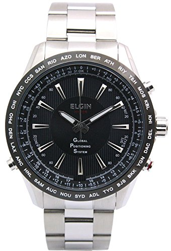 ELGIN GPS Satellite radio controlled watch Quartz Men's Watch GPS2000S-B Black