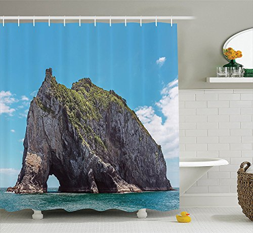 [Seaside Decor Shower Curtain Set Famous Elephant Shape Rock with the Grand Hole in Bay of Islands Nz Cavern Peace Photo Bathroom Accessories Blue] (Black Spiderman Costume Nz)