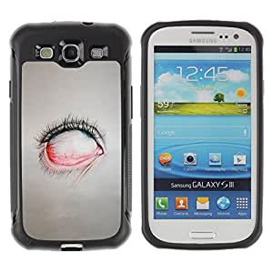 LASTONE PHONE CASE / Suave Silicona Caso Carcasa de Caucho Funda para Samsung Galaxy S3 I9300 / Creepy Eye Painting Emo Sad Goth