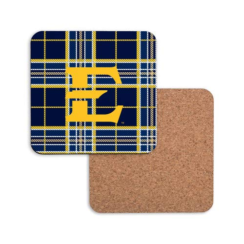 - CollegeFanGear ETSU Hardboard Coaster w/Cork Backing 'E w/Tartan Pattern'