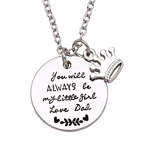 Melix Home Gift for Daughter Necklace from Mom Dad, Youll Always Be My Little Girl Necklace
