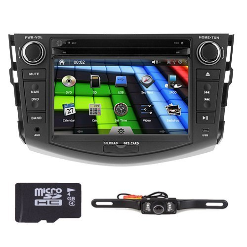 Rear view Backup Reversing Camera Included Hizpo Brand Toyota RAV4 2006 2007 2008 2009 2010 2011 2012 In Dash Double 2 Din Touch Screen GPS iPod DVD Navigation Radio Bluetooth Hands free iPod by HIZPO (Image #1)'