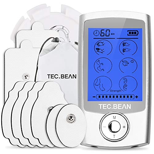TENS Unit Muscle Stimulator with 8 Electrode Pads, TEC.BEAN 16 Modes Rechargeable Electric Pulse Massager Pain Relief Tens Machine for Back, Neck, Arm, Leg & Knee - FDA Approved for Home Office Sport