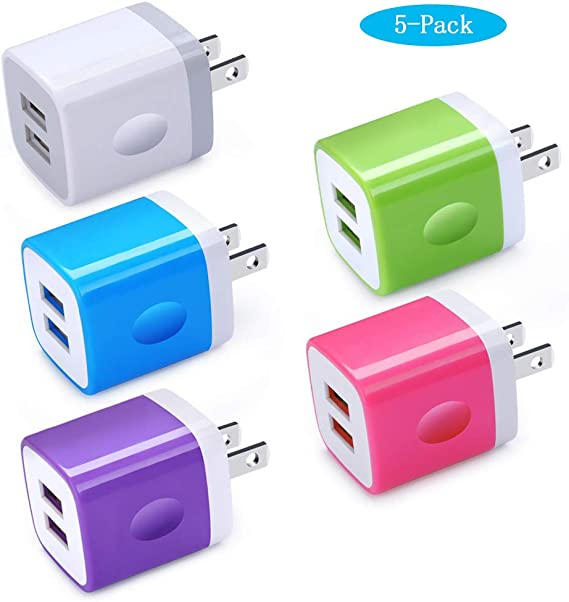 Charging Block Ououdee 1A 5-Pack Travel Single Port USB Wall Charger Brick Cubes Compatible iPhone X//8//8 Plus//7//6S Plus Moto Samsung Galaxy s10e S10 S9 S8 Plus//S7//S6//Note 9//8 Charger Box LG G8 G7