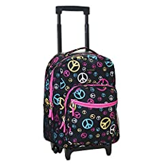 Rolling backpack with double skate wheels.  Measures 13 inch lx10 inch wx17 inch h.  Features include 2 zippered pockets on the front of the bag with one having a built in organizer.  Zippered main compartment opens to large storage opening, ...