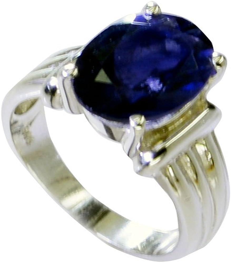 CaratYogi Elegant Original Iolite Statement Ring in 925 Silver Oval Shape Prong Style Fashion Size 5-12