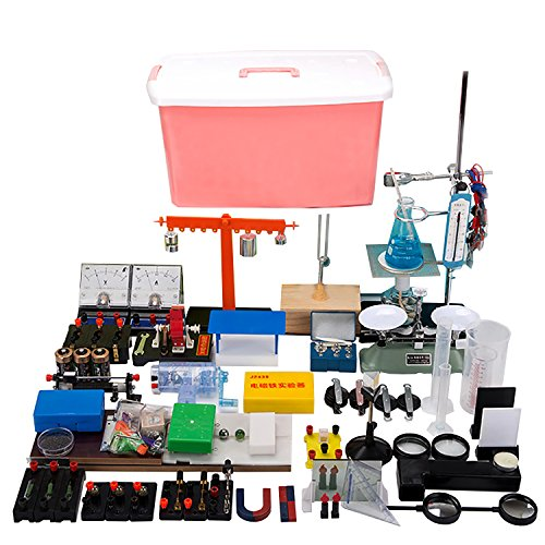 86 Pcs New Lab Physics Experiment Equipment Full Sets For Optics Electromagnetism Mechanics Thermal Explore Instrument Boxes w/Pressure Demonstrator Electromagnet Experimenter (Electromagnet Set Science)
