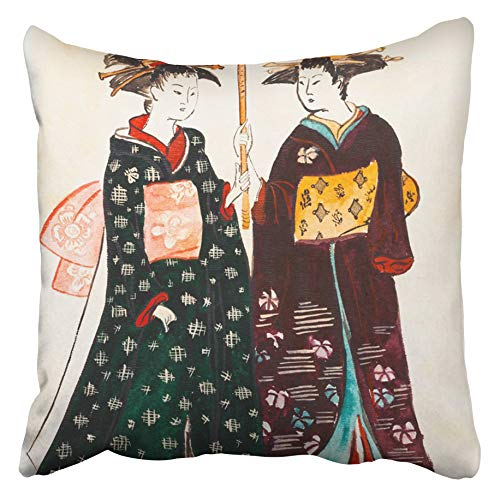Emvency Decorative Throw Pillow Covers Cases Historical Japanese Young Women Geishas in Traditional Under of Torii Kiyonaga Sekiguchi Shinsuke 20X20 Inches Pillowcases Case Cover Cushion Two Sided]()