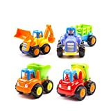KONIG Kids Push and Go Friction Powered Cars Tractor Bulldozer Cement Mixer Dump Truck Toys for Girls and Boys Set of 4
