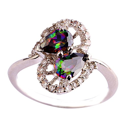 Empsoul 925 Sterling Silver Natural Chic Filled Rainbow Topaz Marquise Shaped Wedding Engagement Ring
