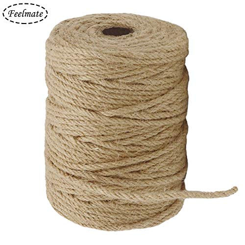 (Feelmate 164Feet 4mm Natural Jute Rope Burlap Twine for Gardening, Hemp Cord DIY Arts & Crafts, Home Decor, Gift Wrapping)