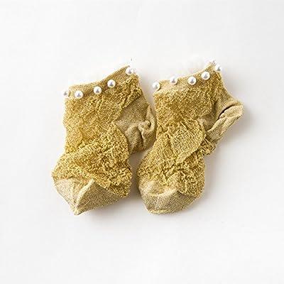 Maivasyy 3 paires de chaussettes en soie de lumière ultra-fin d'été femme Pearl Pearl Court Dentelle Rivet Argent Transparent or Chaussettes, étudiant