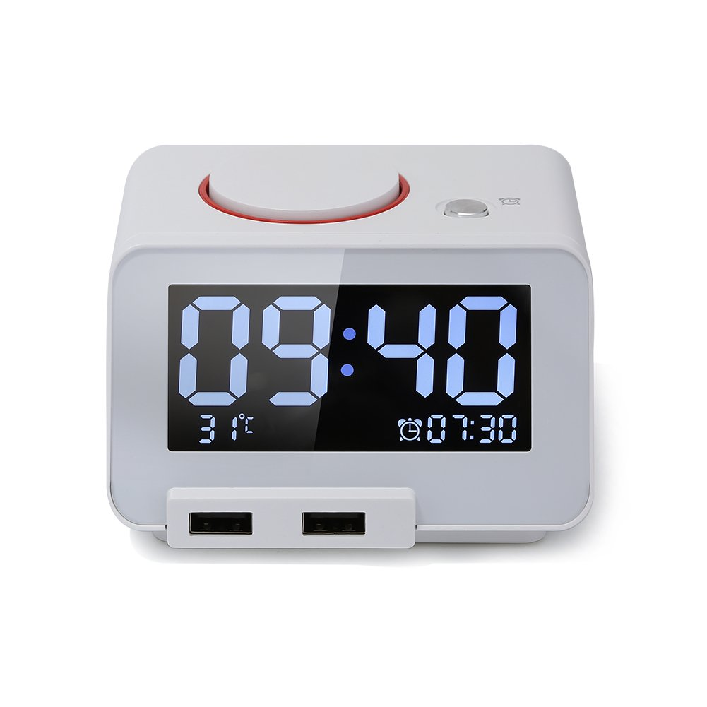 Homtime Multi-function Alarm Clock, Indoor Thermometer, Charging Station/Phone Charger with Dual Port USB for iPhone/iPad/iPod/Android Phone and Tablets, Black 3456334