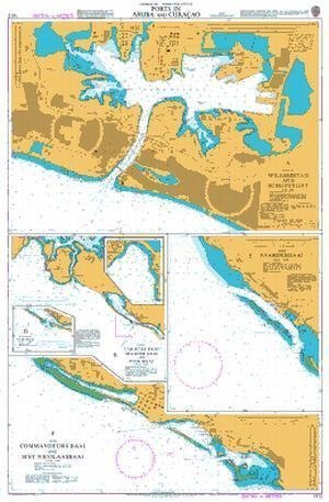 """Ba Diagramm 1412  Caribbean Sea A &   €; """"Nederlandse Antillen und Aruba, Häfen in Aruba und Cura & AO von UNITED KINGDOM Hydrographic Büro"""