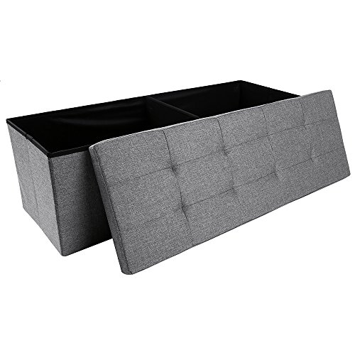 Storage Ottoman,Folding Storage Bench, Linen-like Fabric and Foldable Stool Thickening Sponge for Livingroom 43 1/4