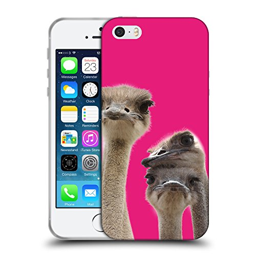 GoGoMobile Coque de Protection TPU Silicone Case pour // Q05720616 Jolies autruches Bright Pink // Apple iPhone 5 5S 5G SE