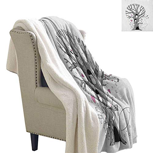 Suchashome Doodle Fluffy Blanket Throw Monochrome Tree with Playing Children Bunny and Fox Doodle Style Arrangement Lightweight Microfiber Blankets 60x32 Inch Pink Black White ()
