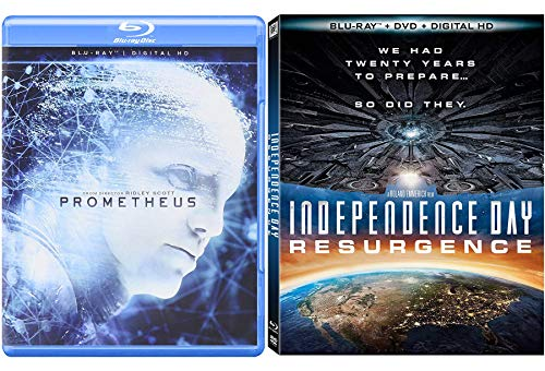 Mysterious Aliens Double Feature – Independence Day: Resurgence & Prometheus Blu Ray Sci-Fi Bundle
