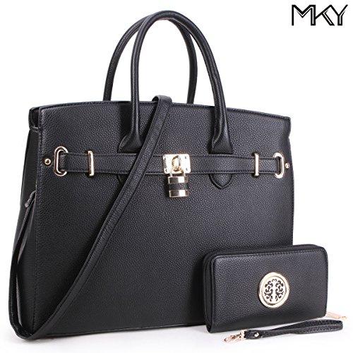 Women Large Handbag Designer Purse 2 Pieces Set Leather Satchel Removable Shoulder Strap Black