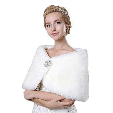 Fenghuavip White Fur Wrap Thick Shawls For Wedding Dresses At Amazon