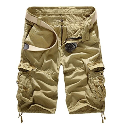 Aancy 2018 Camouflage Shorts Men Loose Pocket Bermuda Homem Men Shorts Bermuda Jeans Masculina Masculino Praia Khaki 36